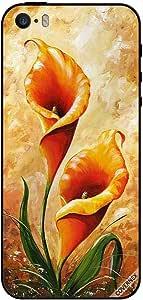 حافظة لجهاز آيفون 5S - فن الأزهار البرتقالي