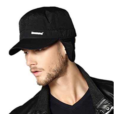 winter classic baseball cap with flaps wool hat ear warm men black waterproof military