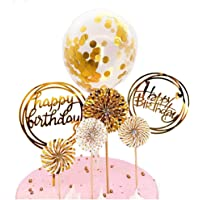DeMissir Happy Birthday Cake Toppers, A Series of Golden Paper Fans, 2 Acrylic Round Happy Birthday Golden Cupcake…