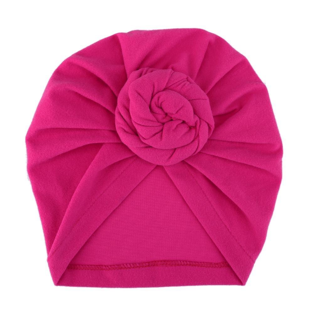 everpert recién nacido niños bebé sombreros tapas de Turbans Lovely niños gorro de invierno gorro de arrugas rojo rosado