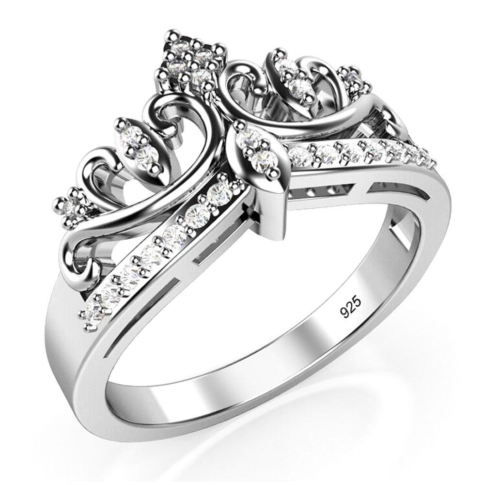 Metal Factory Sz 4 Sterling Silver Cubic Zirconia Princess Crown Tiara CZ Band Ring