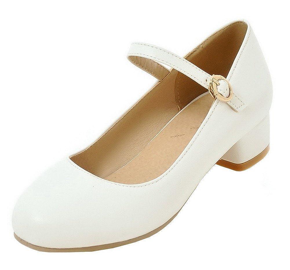 AgeeMi Shoes Mujer Puntera Cerrada PU Sólido Hebilla Mini Tacón De salón
