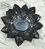 SunRise 4.5 inch Centerpieces Crystal Lotus Candle Holder Collectible Figurine Crystal (Black)