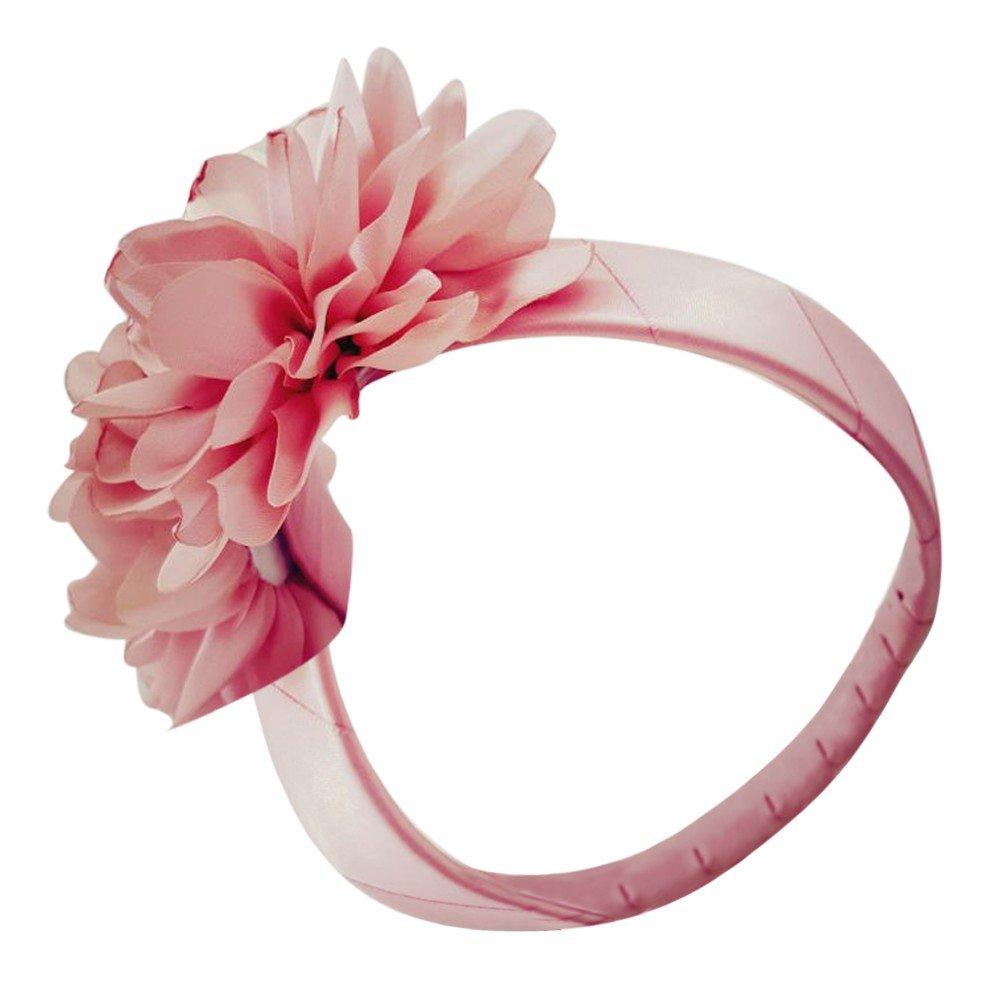Girls Pink Fabric Flower Petals Hair Headband Fancy Diadem