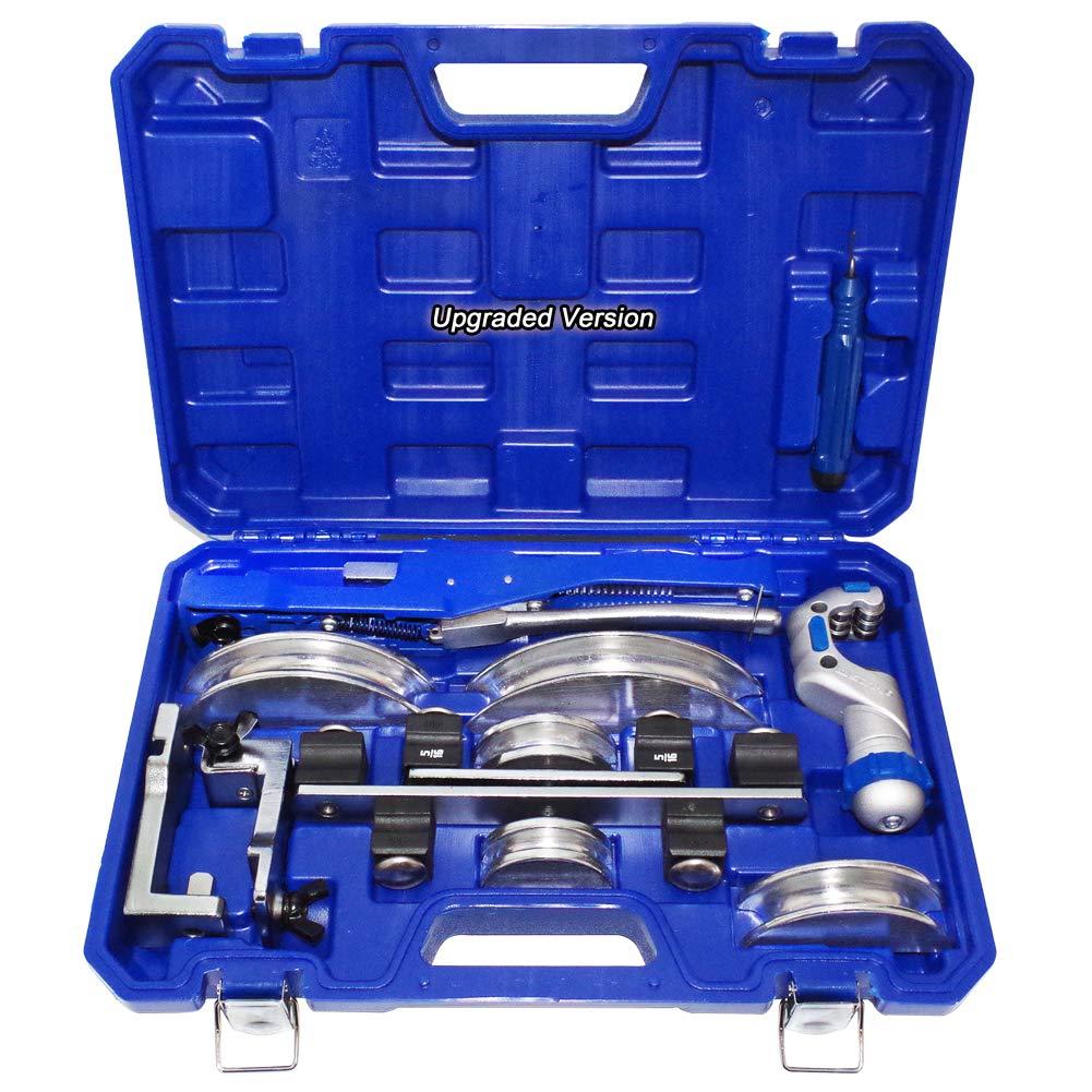 HVAC Refrigeration Ratchet Tube Bender & Pipe cutter Copper Aluminum Tubing Set with Reverse Bending 3/4'', 7/8'', 3/4'', 1/2'', 5/8'', 1/4'' 5/16''