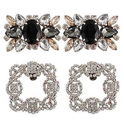 kilofly 2 Pairs Elegant Rhinestone Crystal Metal Shoe Clips Wedding Party Pack Black Size: 2.1 inch