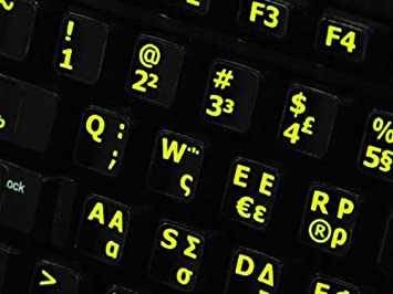 e7726515257 Image Unavailable. Image not available for. Colour: Qwerty Keys Greek English  UK GLOWING Fluorescent Non-Transparent BLACK Keyboard Stickers With YELLOW  ...