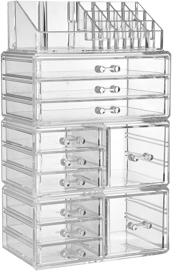 ZHIAI Makeup Organizer Dresser Cosmetic Storage - Clear Acrylic Jewelry Brush Holder Set, 6 Small Drawers, 3 Large Drawers and 2 Square Drawers, Great for Bathroom, Dresser, Vanity and Countertop