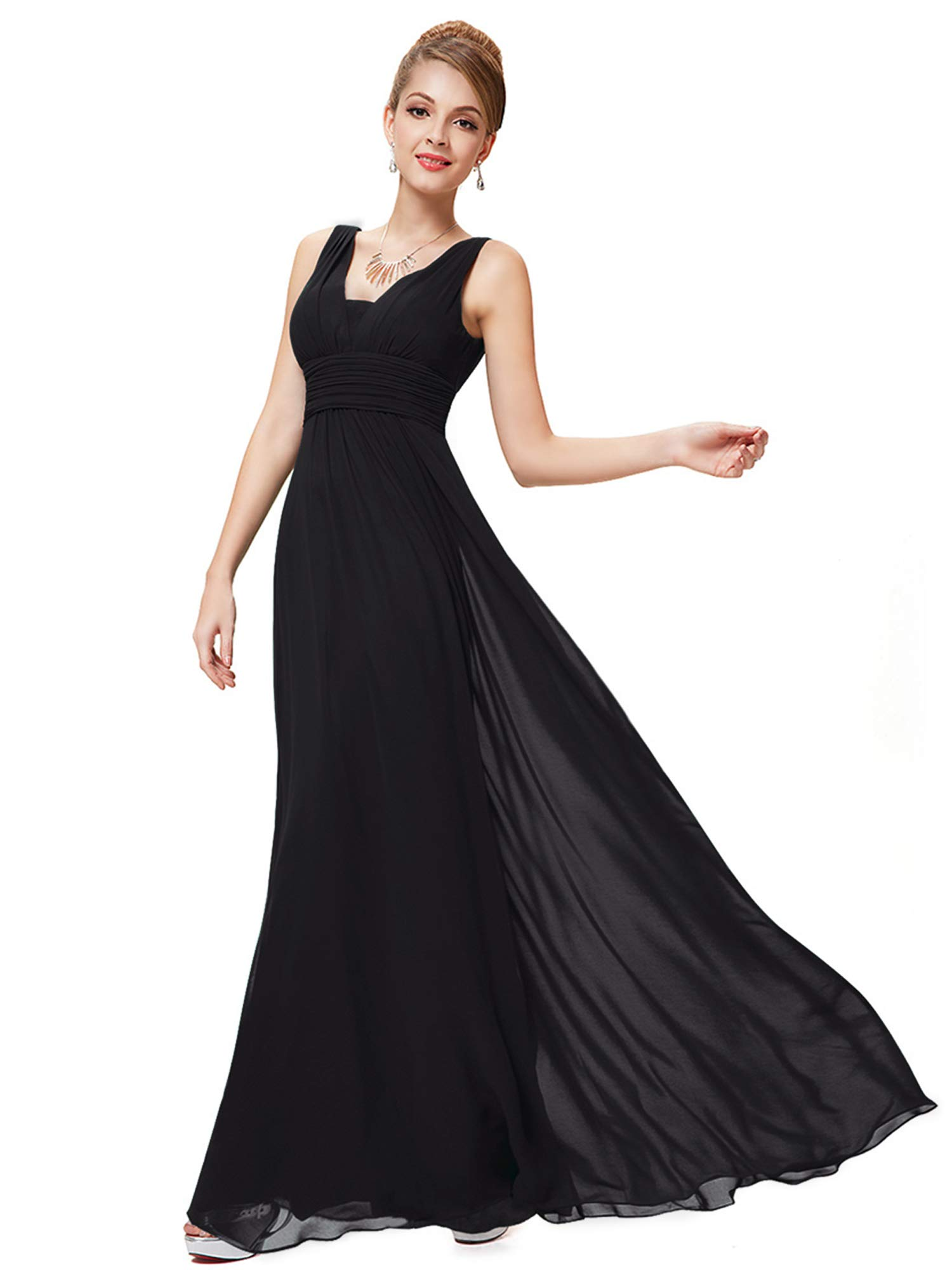 fbea39ed172 Galleon - Ever-Pretty Womens Long Chiffon Wedding Dresses For Guests 6US  Black