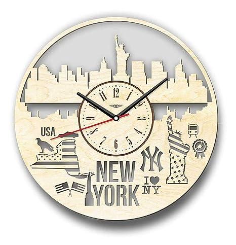 ZCLD 7Arts New York Wall Clock - Producto Hecho a Mano, Que Puede ser Decorado