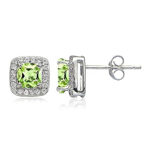 Sterling Silver Birthstone Gemstone White Topaz Cushion-Cut Stud Earrings