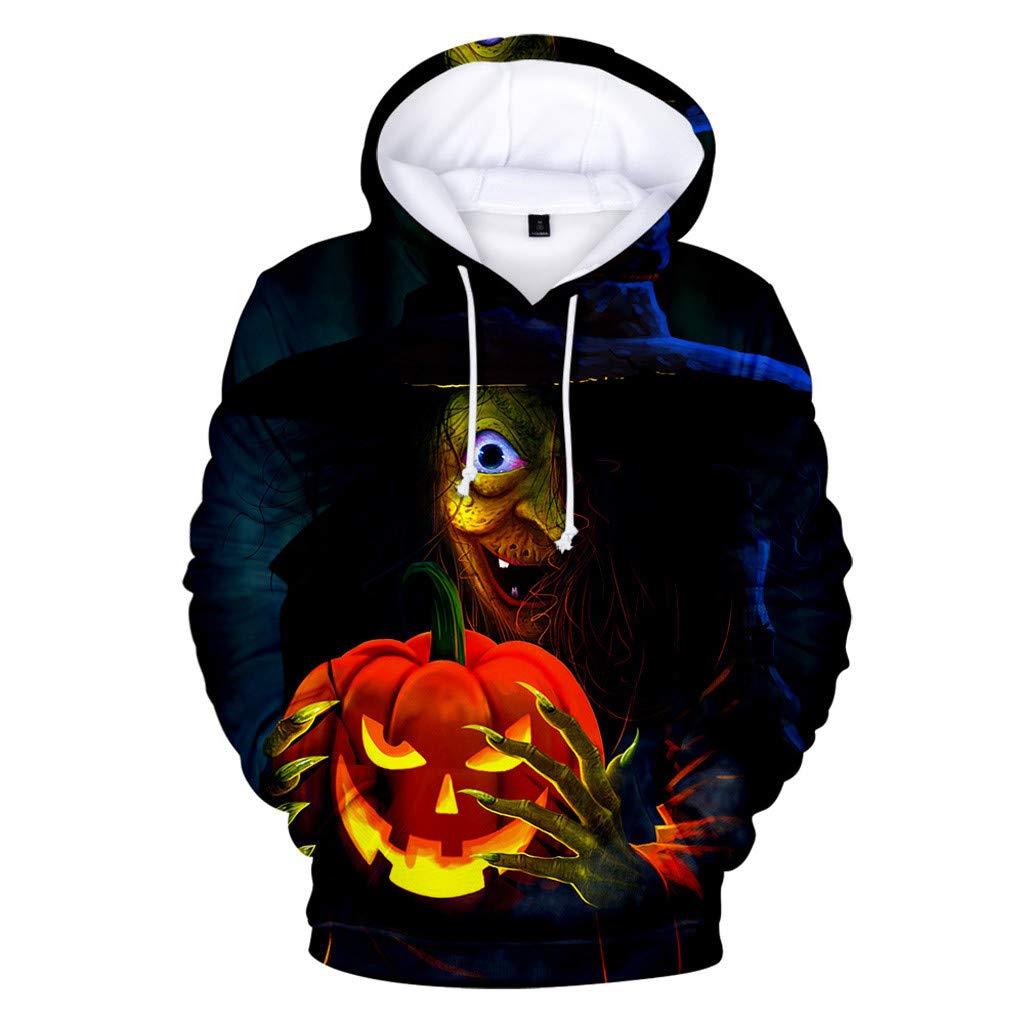 FEDULK Men Women Halloween Hooded Pullover 3D Pumpkin Print Autumn Winter Hoodies Sweatshirt Tops Blouse(Black1, X-Large) by FEDULK