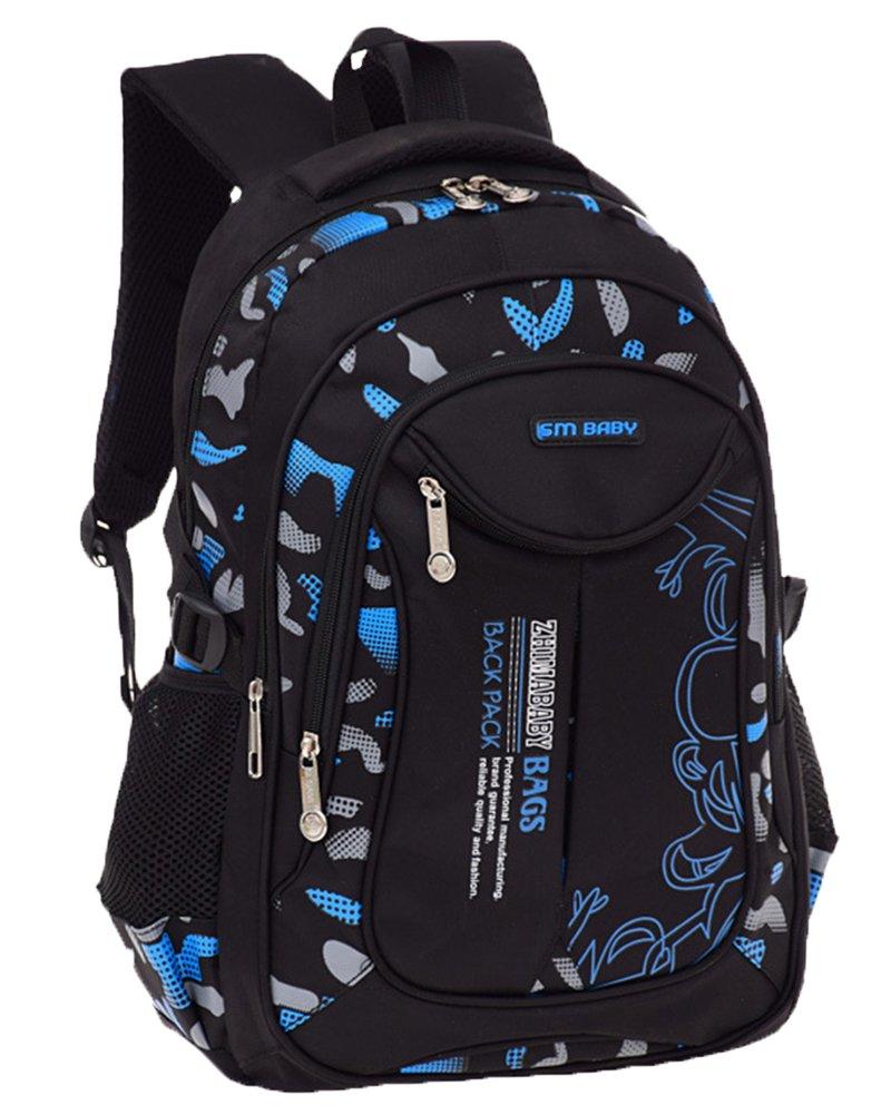 Escuela mochila Portátil Backpack Casual Impermeable Mochila Niños Adolescentes Azul Grande