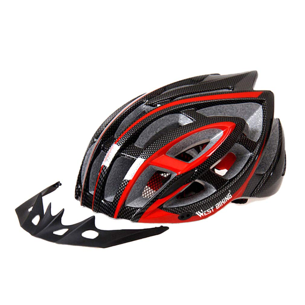 Black Red One Size Bicycle Helmet Lightweight Adult Mountain Road Cycling Adjustable Helmet with Pad Specialized for Men Women