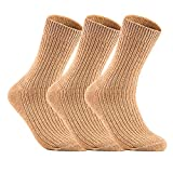 Lian LifeStyle Men's 3 Pairs Knitted Wool Crew Socks One Size 8-11