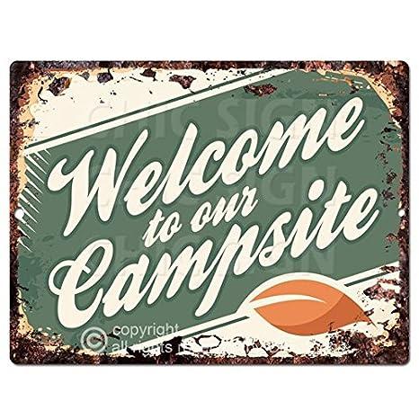 Amazon.com: Bienvenido a nuestra cocina de camping Chic Sign ...