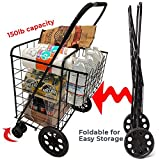 push cart basket - Double Basket Flat Folding Shopping Cart with Swivel Wheels for Laundry Grocery Shopping (Black Cart Only)