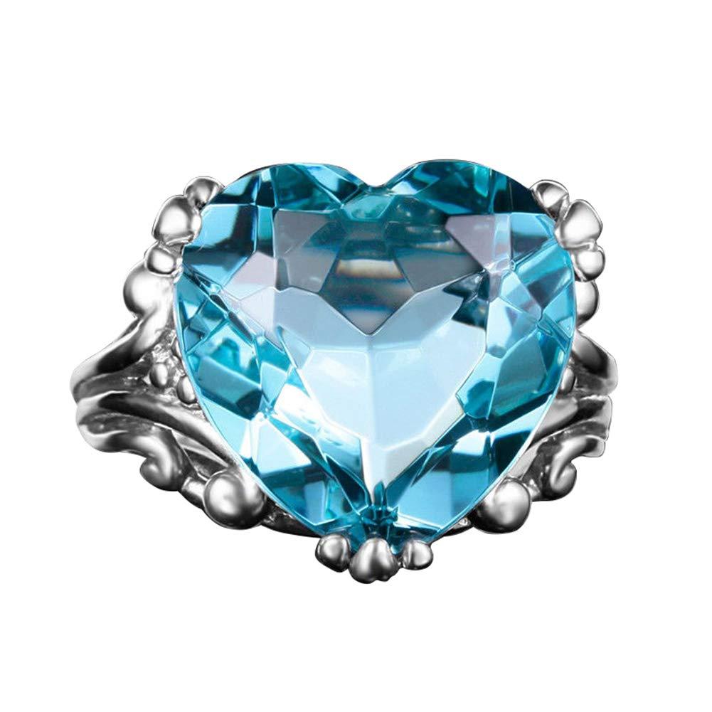 Slendima Romantic Love Heart Shape Faux Topaz Finger Ring Wedding Engagement Bridal Jewelry Sea Blue US 10