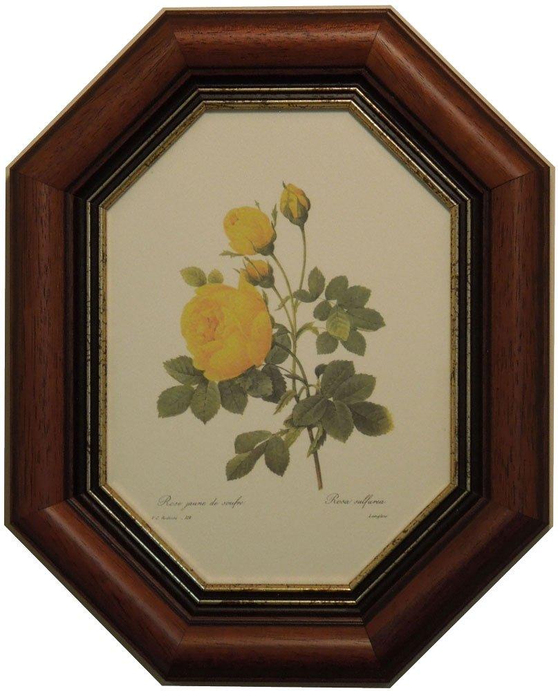 イタリア製 JHAアンティークフレーム 上品なバラ(B) イエロー(ルドゥーテ)&ブラウンゴールドフレーム 八角形 W249×H309 IE-64 額絵 絵画 壁掛け 薔薇 B01M98U581 イエロー イエロー