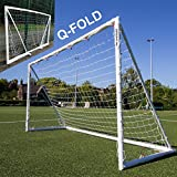 QuickPlay Q-Fold 16x7ft | The 30 Second Folding Soccer Goal for Backyard [Single Goal] The Best Weatherproof Soccer Net for Kids and Adults – 2YR Warranty for 2018 – For Sale