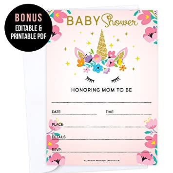 Amazon Com Set Of 25 Fill In Blank Unicorn Baby Shower Invitations
