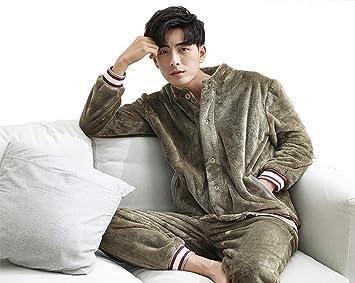 RZ.hs Par de pijamas de franela de invierno set Mujeres o hombres de manga