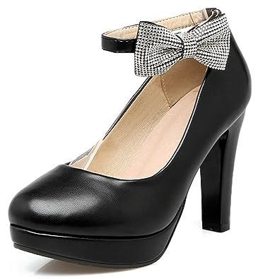 daeb3493ccae IDIFU Women s Elegant High Block Heels Round Toe Ankle Strap Low Top  Platform Pumps Shoes with