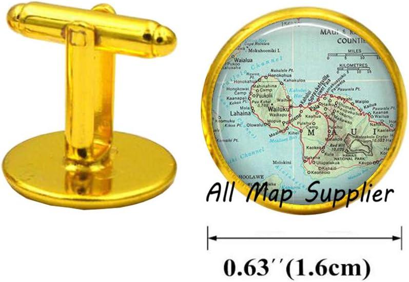 Charming Cufflinks,Maui Fashion map Cufflinks,Maui map Jewelry,Maui map Cuff Links,Maui Cuff Links,Maui Cufflinks,A0227