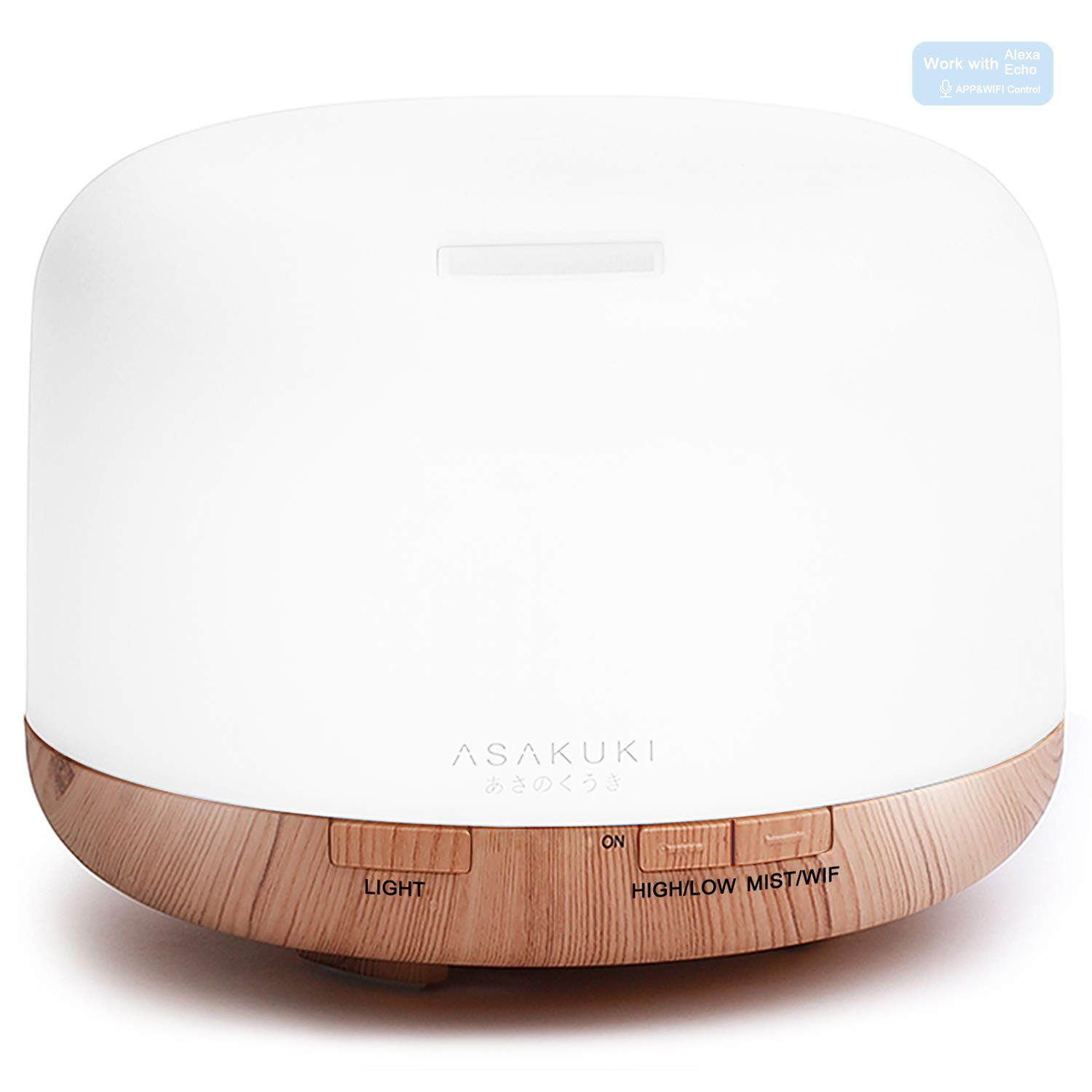 2018 Essential Oil Diffuser - Echo Alexa Control 500ml ASAKUKI 5 in 1 Wi-Fi Smart Ultrasonic Aromatherapy Fragrant Oil Vaporizer Humidifier, Timer and Auto-Off Safety Switch, 7 LED Light Colors