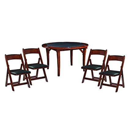 RAM Gameroom Chestnut 48u0026quot; Folding Game Table And 4 Matching Folding  Chair