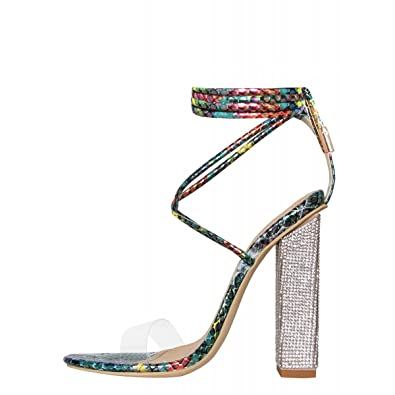 8b842eb5b74 Hell Heel Turquoise Multi Snake Clear Lace Up Diamante Heeled Sandals ...