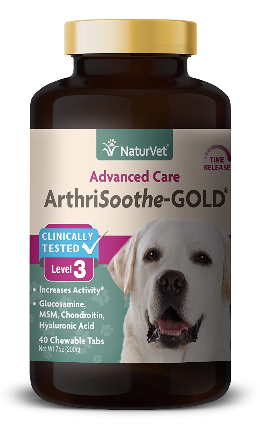 NaturVet Clinically Tested ArthriSoothe-gold Level 3 Advanced Joint Care for Dogs and Cats 40 ct Time Release ChewableTablets Made in USA