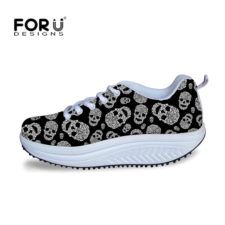 80ab2090bd FOR U DESIGNS Fashion Skull Printing Fitness Walking Sneaker Casual Women's  Wedges Platform Shoes