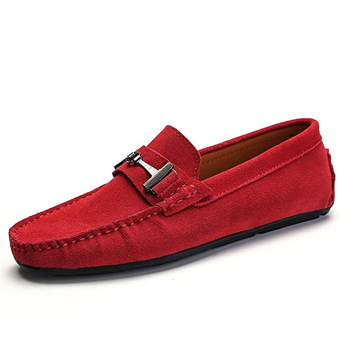 Amazon.com | 2018 Mens Lightweight Driving Loafers Suede Genuine Leather Penny Mocassins Studs Sole Metal Button Decor | Loafers & Slip-Ons