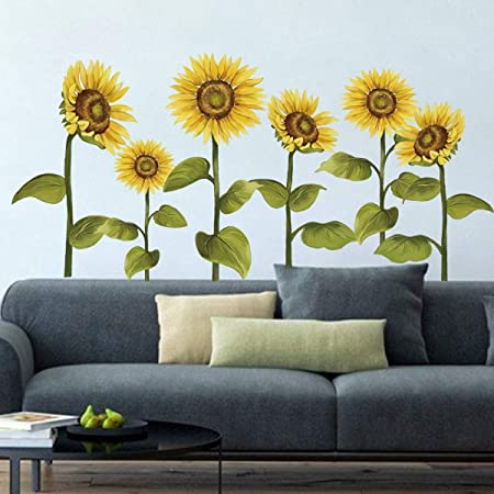 Decalmile Sunflower Wall Decals Garden Flower Wall Stickers Bedroom Living Room Tv Wall Art Home Decor Amazon Co Uk Kitchen Home
