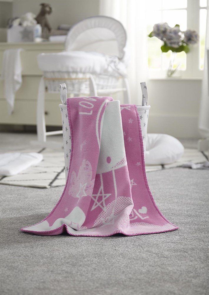 Clair de Lune Over the Moon Fleece Blanket (Pink)