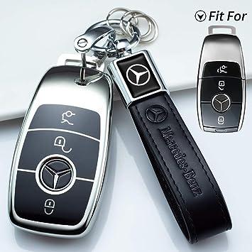 Blue Premium Soft TPU Full Cover Protection for Mercedes Benz Smart Remote Key Fob Holder for Mercedes Benz Key Fob Cover Key Fob Case for Mercedes Benz C E M S CLA CLS CLK GLC GLK G Class