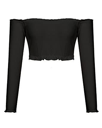 abb84bc6dd487f Mixfeer Women s Sexy Off Shoulder Strapless Long Sleeve Casual Rib-Knit Crop  Top