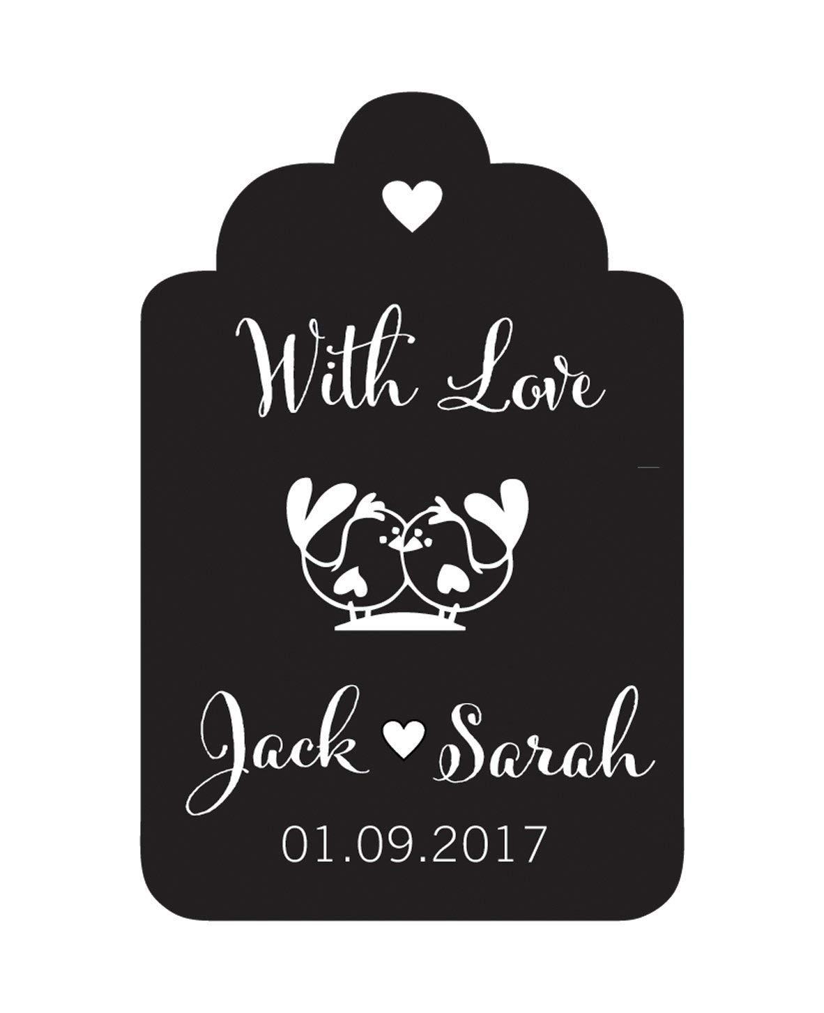 100 piezas con etiquetas de papel de regalo de boda personalizados p/ájaros del amor personaliz/ó favor de la boda etiquetas colgantes
