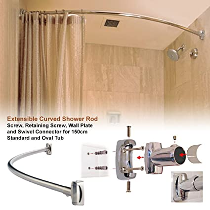 Adjustable Extensible Stainless Steel Chrom Curved Oval Bath Tub Shower Curtain Rod Rail