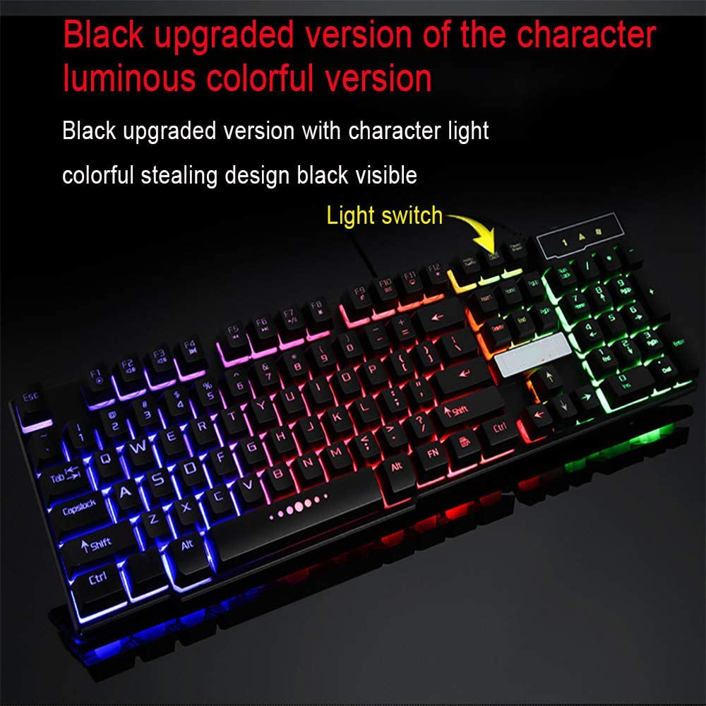 Mictiona Colorful Crack LED Illuminated Backlit USB Wired PC Rainbow Gaming Keyboard