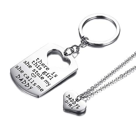 MUZI Gifts for DadCollar con grabado personalizado, llavero ...