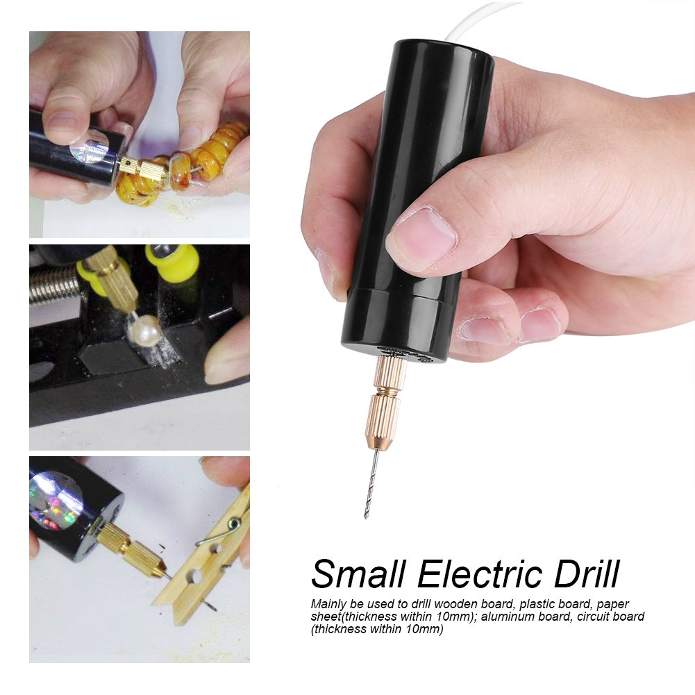0.7-1.3mm Electric Grinder Handheld Micro USB Drill with 3pcs Drill Bits DC 5V