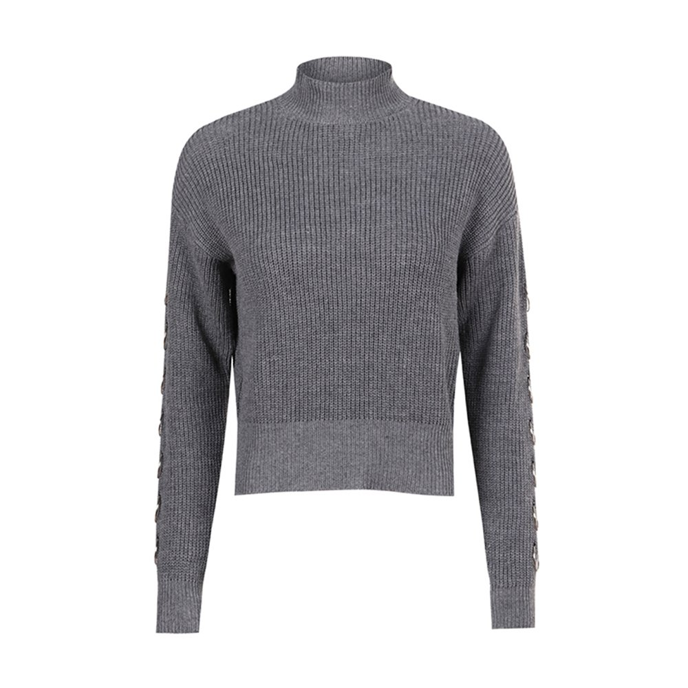 MAGUBA Autumn Solid Gray Vintage Women Sweater Turtleneck Full Sleeve Steel Ring Lady Tops Casual Preppy Style Pullovers (Grey, s)