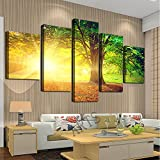 Cao Gen Decor Art-AH40139,canvas Prints, 5 panels Framed Wall Art Sunset Trees Paintings Printed Pictures Stretched for Home Decoration