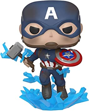 Todo para el streamer: Funko- Pop Marvel: Endgame-Captain America w/BrokenShield & Mjolnir Capt A w/BrokenShield&Mjolnir Colctib Toy, Multicolor, Talla Única (45137)