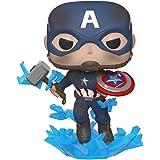 Funko - Pop! Marvel: Avengers Endgame - Captain America with Broken Shield & Mjoinir Figurina de Colección, Multicolor, 45137