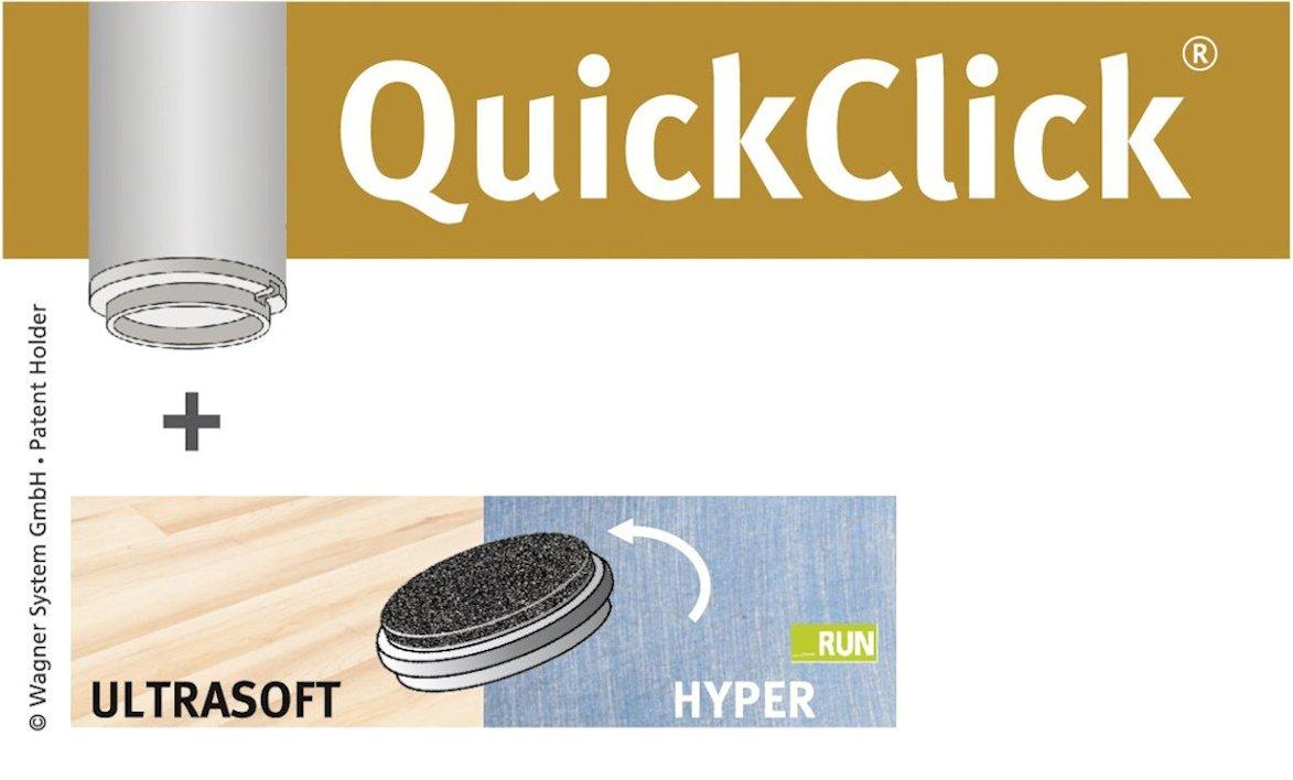 28 x wendbarer Einsatz Ultrasoft+Hyper WAGNER QuickClick/® Dining Set Duo //// 1 Tisch 15790001 Durchmesser 20 mm 6 St/ühle //// 28 x Basis