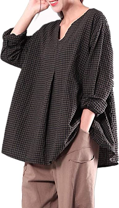 Yvelands Camisa de Lino de algodón para Mujer, Camisa de Cuadros Femenina Camisa de Blusa Superior Suelta de Manga Larga con Cuello en V Ocasional: Amazon.es: Ropa y accesorios