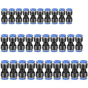 Straight Push Connector Kit 30pcs 1//4 5//16 3//8 Tube Quick Push Connectors Quick Release Air Line Connectors